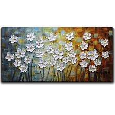 painting artwork on wood paintings white flower painting 3d painted on canvas