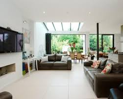 Open Kitchen Living Room Design Photo Of Open Plan White Dining Area Living Room Lounge With Glass
