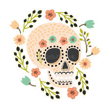 day of the dead sugar skulls and modern flat vector