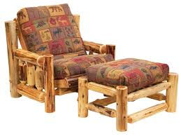 Log Cabin Furniture Cedar Futon Chair And Ottoman Set And Futon Cover