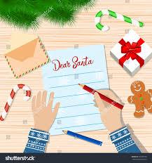 child hand pen writing letter santa stock vector 526069750