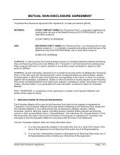 non disclosure agreement between two companies template u0026 sample