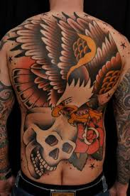 skull back eagle tattoo by the sailors grave
