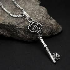 key necklace men images Retro gothic crown key pendant necklace titanium for men and women jpeg