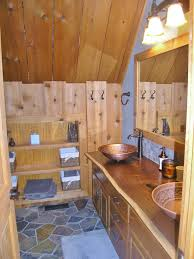 Vanity T Rustic Red Cedar Bathroom In Jerseyville Barn With Slate Floor And