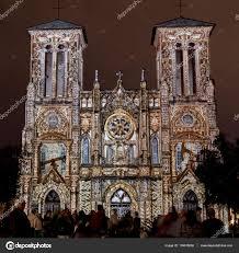 san fernando cathedral light show san fernando cathedral with ornate light show stock editorial