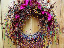 spring wreath spring door wreath front door wreath birch cone