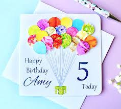 personalised birthday balloons 5th birthday card personalised age 5 birthday balloons card