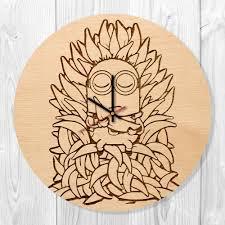 minions beautiful banana handmade natural wood wall clock vinyl