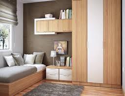 bedroom space saving house in bedroom wooden book shelf mounted