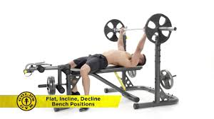 gold u0027s gym xrs 20 olympic rack and bench youtube