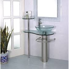 inch wall mounted single chrome metal pedestal bathroom vanity