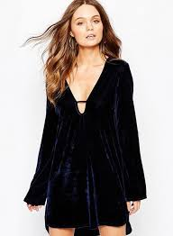 loose fit v neck long sleeve irregular velvet mini dress dark blue