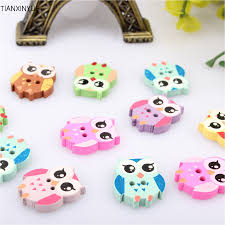 50pcs multicolor wooden owl buttons charms 2 holes sewing craft