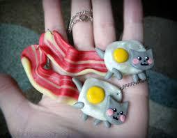 Fimo Meme - nyan cat bacon meme necklace geek jewelry polymer by olechkadesign