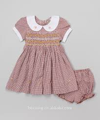 Vintage Style Baby Clothes New Style Vintage Pink Kid Smocking Dresses Baby Peter Pan Collar