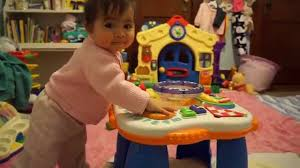 baby standing table toy 9 month old baby ann playing and standing with fisher price laugh
