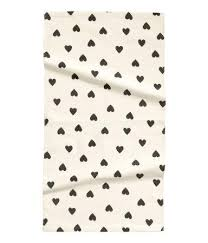 White Cotton Rug And Black Heart Pattern Cotton Rug