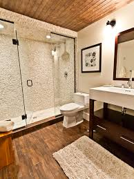 Wood Floor In Bathroom Small Bathroom Remodel Home Pinterest Pebble Tile Shower