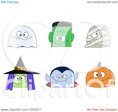 small halloween emoticons transparent background clipart of halloween character faces royalty free vector
