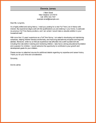 live in nanny cover letter sample nanny cover letter by sample