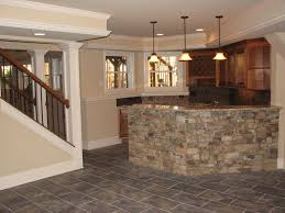 graceful basement wet bar designs with brick stone bar counter