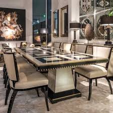 luxury dining table set exclusive birds eye maple veneered table Luxury Dining Table And Chairs