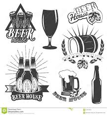 beer cartoon black and white vector set of brewing labels in vintage style pub and craft beer