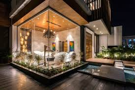 interior glass walls for homes a house in panchkula with glass walls and an elevated pool