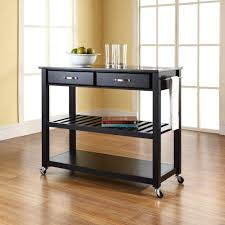 crosley black kitchen cart with black granite top kf30054bk the