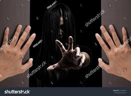 halloween themetwo woman hands opening wooden stock photo
