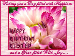 sweet pink flowers wallpaper of birthday greeting card for sister