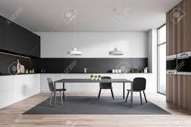 black walls white kitchen cabinets interior of stylish kitchen with white and black walls wooden