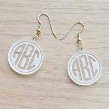 monogram earrings engraved geometric monogram earrings ottava designs