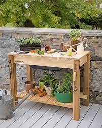 Potting Bench Kits Potting Bench Cedar Potting Table With Soil Sink Gardeners Com