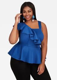 royal blue blouse top buy ruffle shoulder peplum top royal blue tops