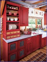 fabulous perfect red country kitchen cabinet design ideas for