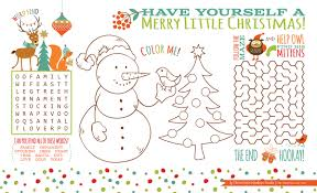 kids placemats christmas activity placemat free printable three
