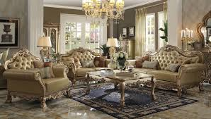living room collections acme 2 piece dresden wood trim gold patina living room set