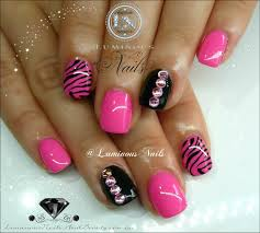 luminous nails cute pink u0026 black nails with zebra print u0026 bling