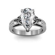 deco pear cut engagement rings