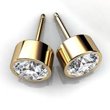 earring stud set 14kt yellow gold bezel set diamond stud earrings union diamond