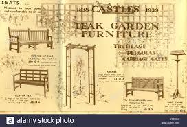 leaflet advertising teak garden furniture by castles stock photo
