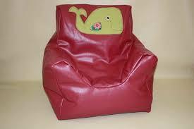 Beanie Chair Pink Vinyl Kids Bean Bag Beanie Chair Green Whale Motif