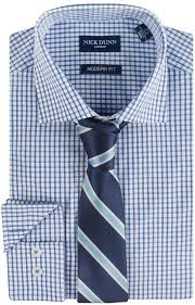 nick dunn modern fit patterned easy care spread collar dress shirt