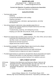 Job Objectives For Resume by Resume Sample Electronics Assembler