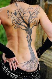 back tree with feathers tats feathers