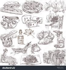 food drink around world white set stock illustration 148983521