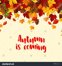autumn coming poster template foliage fall stock vector 695713612