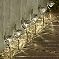 solalite 6 pack stainless steel solar powered stake lights